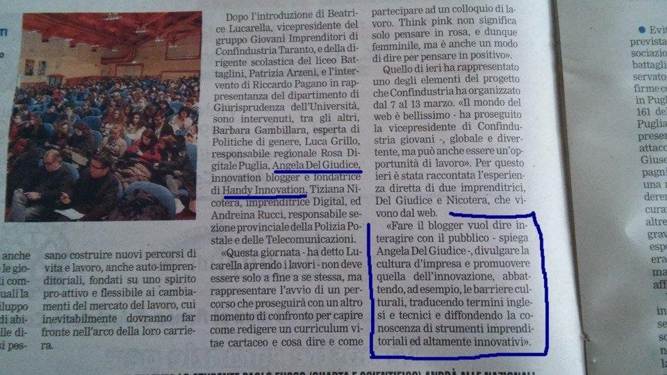 Gazzetta del Mezzogiorno_ed Taranto 10mar2016_intervista Angela Del Giudice