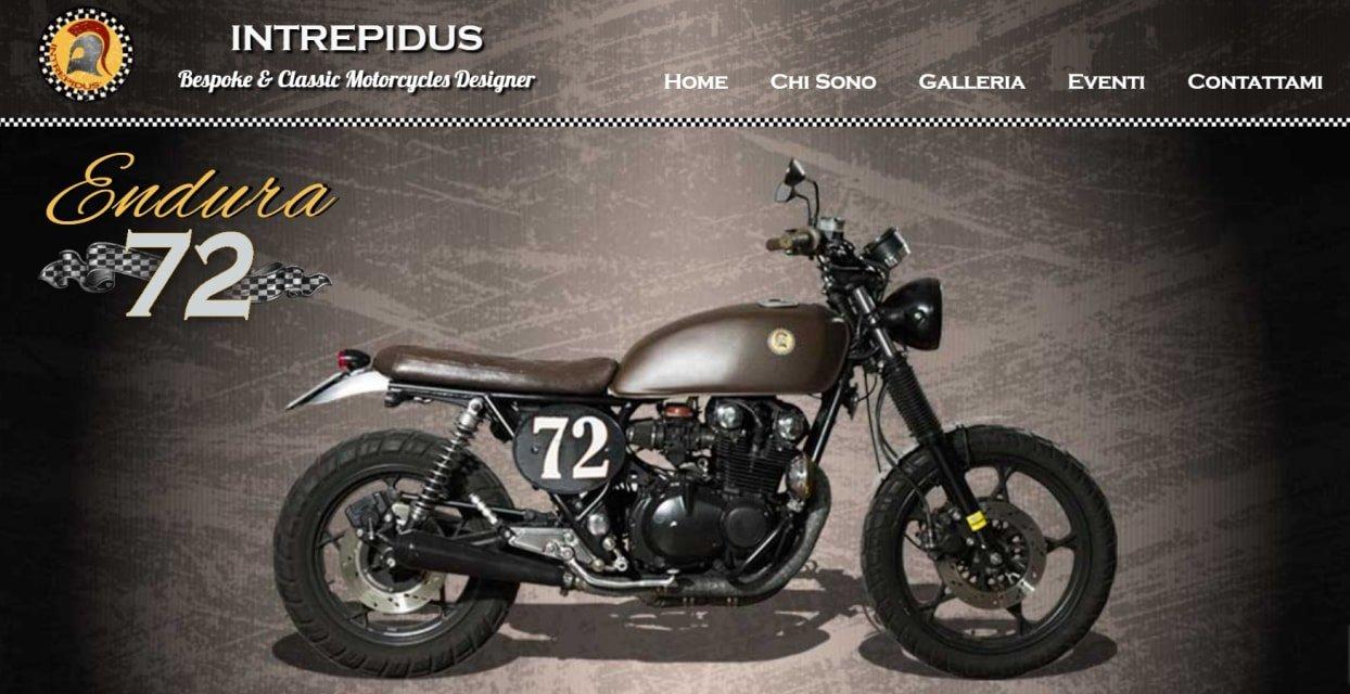 Home page sito web per moto artigianali